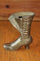 Vintage Brass Ladies Victorian Lace Up Shoe Boot Figurine Home Decor planter