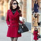 Fashion Women Double Breasted Wool Trench Coat Slim Long Jacket Winter Outwear