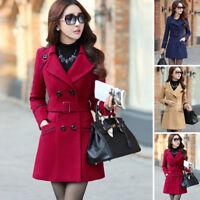 Women Double Breasted Wool Trench Coat Slim Long Jacket Winter Overcoat Outwear