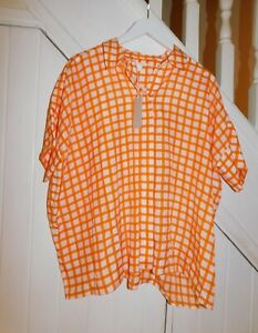 COS - NWT £89 - SIZE 18 - DROP SHOULDER SLEEVES OVERSIZED SILK CHECK BLOUSE