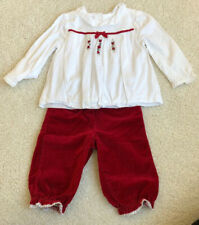 EUC Janie And Jack Set Holiday Top 12-18 Months Velvet Pants 6-12 Months