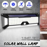 136LED Solar Light PIR Motion Sensor Wall Lamp 3 Modes Dimmable Light of 4