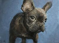 "Print Adorbs ACEO ""BELLA"" miniature frenchie french bulldog dog art puppy animal"