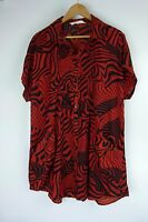 VIRTU Tunic Top Sz 14 Red, Black Print