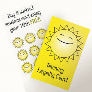 Sunbed Salon Tanning Customer Loyalty Retention Cards Pack of 100