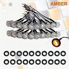 """20X Mini 12V Clear Amber 3/4"""" Round Side 3 LED Marker Trailer Truck Bullet Light"""