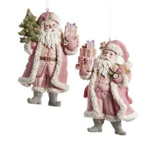 Set/2 Kurt Adler Pink Pastel Santa Christmas Tree Ornament Retro Vntg Decor