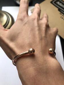 Men's Women's Rose Gold Plated Over 925 Sterling Silver Torque Bangle Bracelet