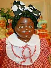 "*RARE* Madame Hendren 15"" Black Doll Caracul Wig Sleep eyes Composition & Cloth"