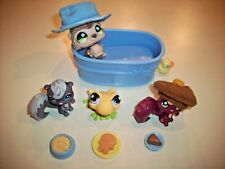 Littlest Pet Shop Lps Bath Tub Fun Hedgehog, Squirrels & Frog With Hats and Food