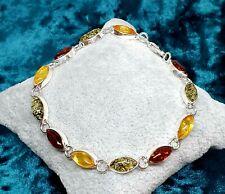 More details for zoria baltic amber bracelet-sterling silver 925-cognac/green-free us/eu shipment
