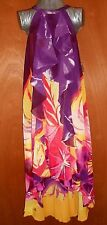 New MAXI DRESS JENIFER LOPEZ  S High-Low Ruffle Purple RED YELLOW HALTER FLORAL