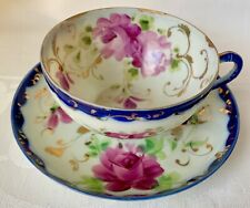 BEAUTIFUL ANTIQUE JAPANESE CUP & SAUCER SET, COBALT BLUE, PINK ROSES, GREAT COND