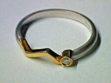 Damenring in Platin 950 mit Gelbgold 750 und Brillant 0,03 ct.