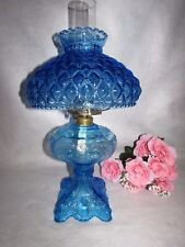 BLUE OIL/KEROSENE PRINCESS FEATHER PATTERN LAMP W QUILTED GWTW HURRICANE SHADE