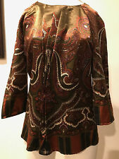 PREOWNED  beautiful multicolor ETRO blouse wool top size 46!! CAMDAY