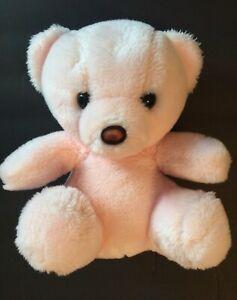 "Vintage PRESTIGE Pink Teddy Bear 10"" Plush Stuffed SANITIZED Animal Rattle 1985"