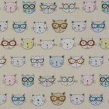 Fryetts COOL CATS! 100% Cotton Panama Fabric Crafts & Curtain 140cm Width
