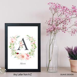 Monogram Name Initial Print Watercolour Flowers Wreath Custom Wall Art Floral
