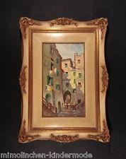 Italiano Viuzza città antica originale vecchio Dipinti a olio in