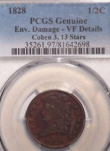 1828 Half Cent C-3 PCGS Genuine Env Damage-VF Details 13 Stars
