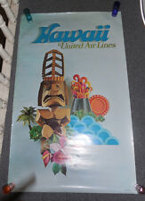 Vintage 1971 United Airlines Hawaii Tiki Poster