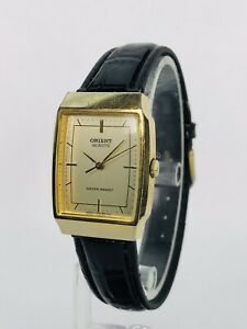 Vintage Orient Ladies Watch - Gold Tone - Patent Leather Band - New Battery!