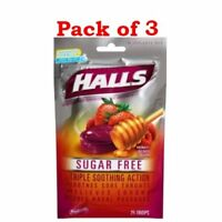 Halls Fast Relief Sugar Free Cough Drops, Honey Berry Flavor, 25 Count (PACK 3)