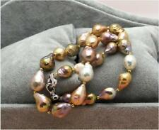 "huge 18""about 13x18mm natural south sea genuine gold pink nuclear pearl necklace"