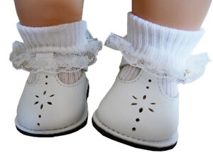 White T-Strap Shoes Lace Trim Socks fits Bitty Baby + Twins Doll Clothes