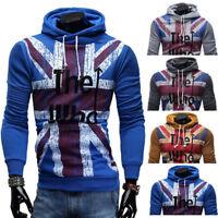Tops Mens Zipper Casual Hoodies Warm Hooded Slim Fit Coat Sweatshirt Outerwear 、