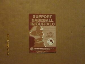 Eastern League Buffalo Bisons Vintage Circa 1981 Oversize Team Baseball Schedule