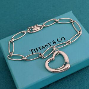 """Tiffany & Co. Elsa Peretti Large Open Heart Oval Chain Bracelet, Silver 925, 7"""""""