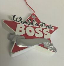 Worlds Best Boss 3 Inch Red Star Bosses Day Ornament Occupation Theme