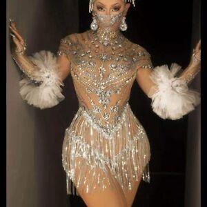 Shining Rhinestone Tassel Dance Dress Gloves Sexy Mesh Stage Wear Club Outfit