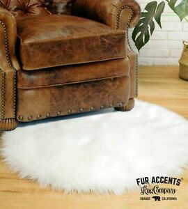 Round Shag Sheepskin Accent Rug Thick Faux Fur, Fake Flokati Fleece Fur Accents,