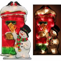 Indoor Display Christmas Lights Snowman Post-box Double Sided Silhouette -45 cm