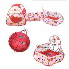 New 3 In 1 Baby Kids Play Tent Tunnel Play House Indoor Outdoor Balls Pull Toys