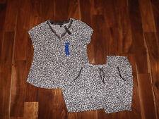 NWT Womens CAROLE HOCHMAN Gray White Print Pajamas Sleepwear Set Sz L Large