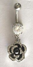 SPARkLY PAVE ROSE DANGLE NAVEL BELLY RING