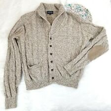 Lands End Mens Shawl Cardigan Sweater Size XL Beige Elbow Patches Wool Blend