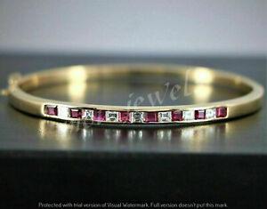 5CT Princess Asscher Ruby 14K Yellow Gold Over Vintage Bangle Bracelet For Women