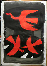 Rare Vintage Georges Braque, Three Red Birds, Lithograph Poster ©ADAGP France