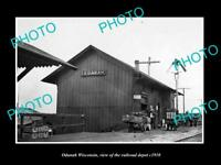 OLD LARGE HISTORIC PHOTO OF ODANAH WISCONSIN, THE RAILROAD DEPOT STATION c1910