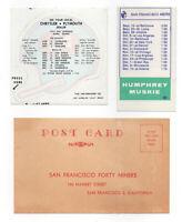 Vintage 1953, 1968 & 1972 San Francisco 49'ers Sticker, Schedules & Postcard