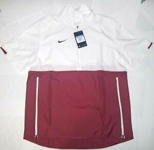 Nike Coaches Lightweight Half Zip Shirt Red/White CI4479106 Mens Size Medium NWT