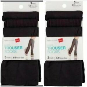 Women's Hanes (2) 3-pks Stylessentials Trouser Knee High Socks Java Size 5-9