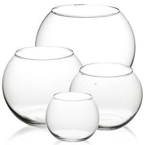 Clear Round Glass Flower Vase Fish Bowl Classic Centerpiece Wedding CandleHolder