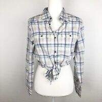 Ruehl AF Women's Plaid Snap-Up Long Sleeve Country Cowgirl Shirt Large Blue Pink