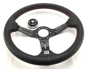 "14"" Real CARBON Steering Wheel Fit 6 hole Hub Like Vertex Nardi Momo Sparco NRG"